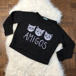 Workshop Medium Black Sweatshirt AMIGOS 3 Cats